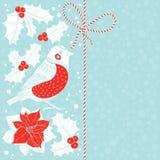 与红腹灰雀、puansetiey和霍莉的圣诞节背景 Vecto 向量例证