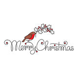 与红腹灰雀和分支的圣诞快乐文本 免版税库存照片