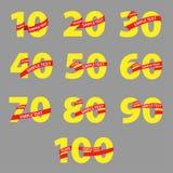 与红色丝带周年的黄色数字 库存例证