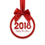 与红色丝带和弓的新年快乐2018圆的横幅 向量例证