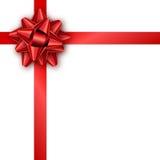 与红色丝带和弓的节日礼物卡片 名片的模板,横幅,海报,飞行物,笔记本,邀请 库存照片