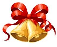 与红色丝带和弓的金黄圣诞节铃声 剪报装饰鹿查出的路径红色xmas 门铃象 在白色Backgroun隔绝的传染媒介例证 向量例证