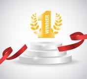 与红色丝带的优胜者背景,在白色的圆的垫座 海报或小册子模板 免版税库存照片