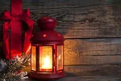 与红色丝带的圣诞节抽象背景 图库摄影