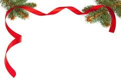 与红色丝带的圣诞节框架 免版税库存照片