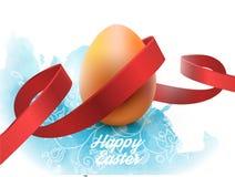 与红色丝带的复活节彩蛋,在白色 海报或小册子模板 也corel凹道例证向量 库存照片