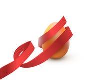 与红色丝带的复活节彩蛋,在白色 海报或小册子模板 也corel凹道例证向量 免版税库存图片