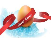 与红色丝带的复活节彩蛋,隔绝在白色 海报或小册子模板 也corel凹道例证向量 免版税库存照片