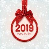 与红色丝带的新年快乐2019圆的横幅 皇族释放例证