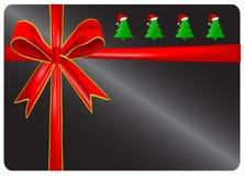 与红色丝带的礼品看板卡。 免版税库存照片