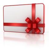 与红色丝带的空白礼品看板卡 库存照片