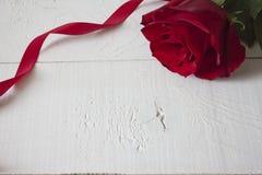 与红色丝带的红色玫瑰在白色木头 库存照片