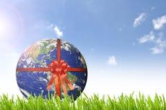 与红色丝带的行星地球在美丽的绿草nd晴朗的d 免版税图库摄影