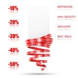 与红色丝带的销售额标签 免版税库存照片