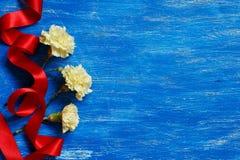 与红色丝绸丝带的淡黄色康乃馨 库存照片