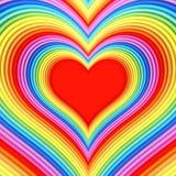 与红色中心的五颜六色的光滑的心脏形状 免版税图库摄影