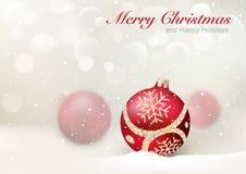 与红色中看不中用的物品的典雅的圣诞节问候 免版税库存照片