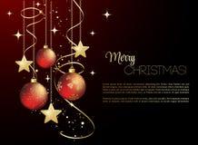 与红色中看不中用的物品的圣诞快乐卡片 免版税库存照片