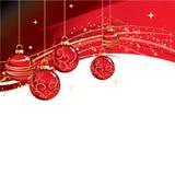 与红色中看不中用的物品的圣诞快乐卡片 免版税图库摄影