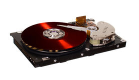 与红色乙烯基盘的硬盘驱动器而不是磁片 库存图片