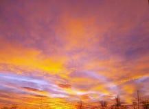 与红色云彩的早晨 免版税库存照片