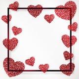 与红色五彩纸屑、闪闪发光,金黄闪烁和在黑框架,边界的愉快的情人节上写字的心脏的海报 库存图片