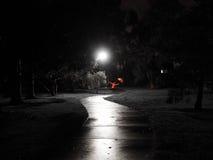 与红色伞的红色女性跳舞在一条蠕动的黑暗的自行车道路由街灯点燃了 免版税库存照片