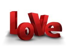 与红色信件和阴影的文本爱 向量例证