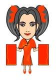 与红色信封的中国女孩新年 免版税库存照片