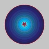 与红色元素的蓝色走廊ilussion 免版税图库摄影