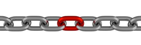 与红色元素的金属链式线 免版税库存图片
