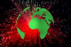 与红色光芒的地球 库存图片
