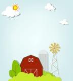 与红色农厂风车和筒仓的风景 免版税库存照片