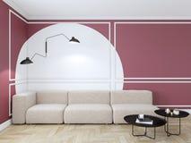 与红色几何印刷品的空的内部在墙壁上 沙发、咖啡桌和木地板 库存例证