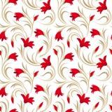 与红色剑兰花的无缝的样式。 库存图片