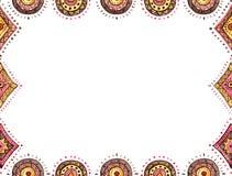 与红色和布朗东方人装饰品的水彩卡片 免版税图库摄影