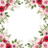 与红色和桃红色玫瑰、lisianthus和银莲花属花和铃兰的框架 向量 库存照片