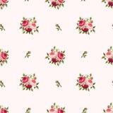 与红色和桃红色玫瑰的无缝的样式 也corel凹道例证向量 免版税库存图片