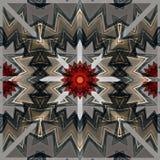 与红色和灰色星的数字式艺术设计无缝的样式 免版税库存照片