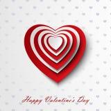与红色和白色心脏的华伦泰卡片 库存照片