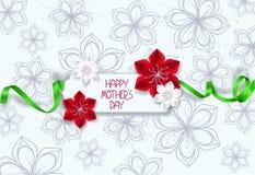 与红色和白花和丝绸绿色丝带的典雅的母亲节贺卡 免版税库存图片
