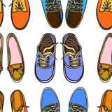 与红色和蓝色鞋子的无缝的样式 皇族释放例证