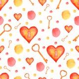 与红色和黄色元素的水彩无缝的样式 心脏锁,钥匙,斑点,圆点 背景看板卡问候页模板通用万维网婚礼 水彩纹理 皇族释放例证