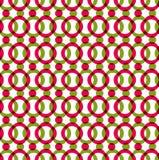 与红色和绿色圈子,颜色的明亮的被加点的无缝的样式 免版税库存图片
