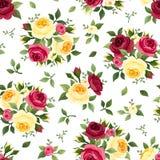 与红色和黄色玫瑰的无缝的样式在白色 也corel凹道例证向量 免版税库存照片