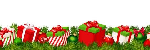 与红色和绿色礼物盒的圣诞节水平的无缝的背景 也corel凹道例证向量