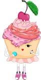 与红色唇膏的美丽的女孩杯形蛋糕 库存照片