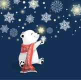 与红色围巾的北极熊在与雪花的蓝色bacjground 向量例证