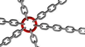 与红色圆环元素的链连接 免版税库存图片
