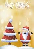 与红色圣诞树的圣诞卡 免版税库存照片